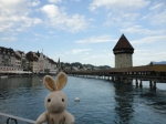 This is the Chapel Bridge and Water Tower in Oldtown Lucerne.